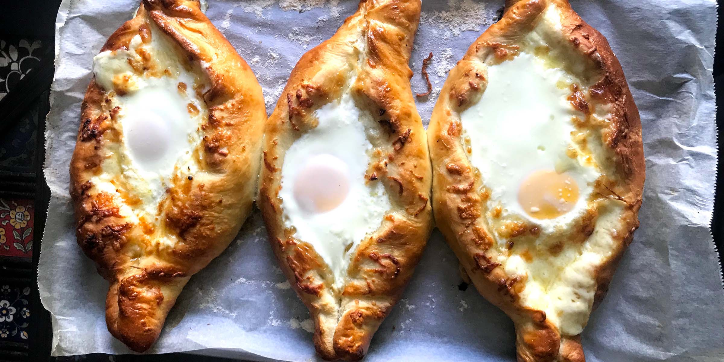Acharuli, the boat shaped Georgian cheese-bread or Khachapuri