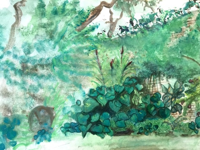 Sketch of our garden in Rosmead Place