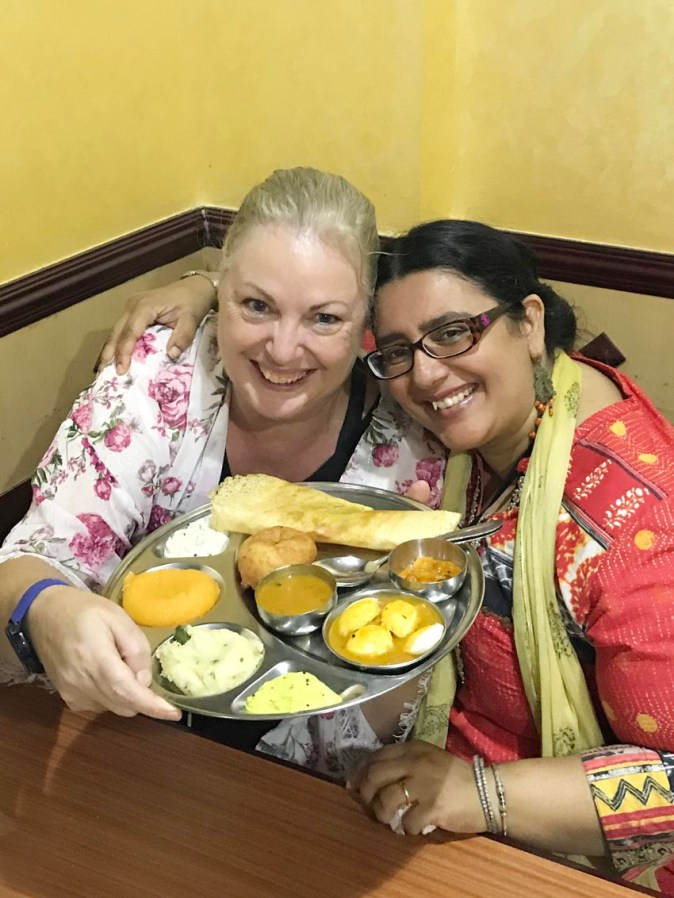 Debbie Rogers and Ishita B Saha in a food tour with Frying Pan Adventures