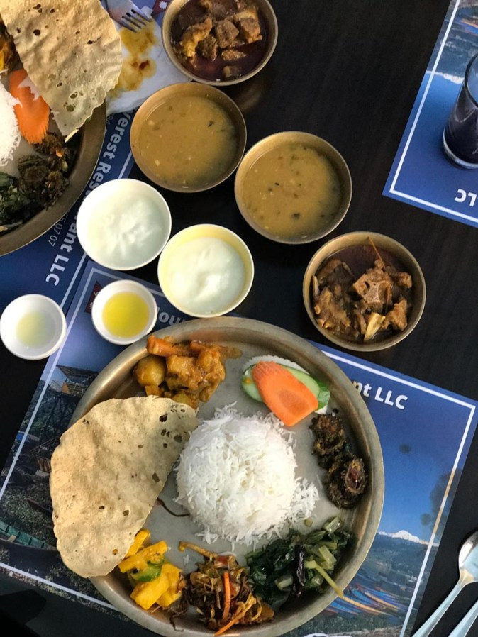 Traditional Nepali thali at Everest Restaurant in Bur Dubai