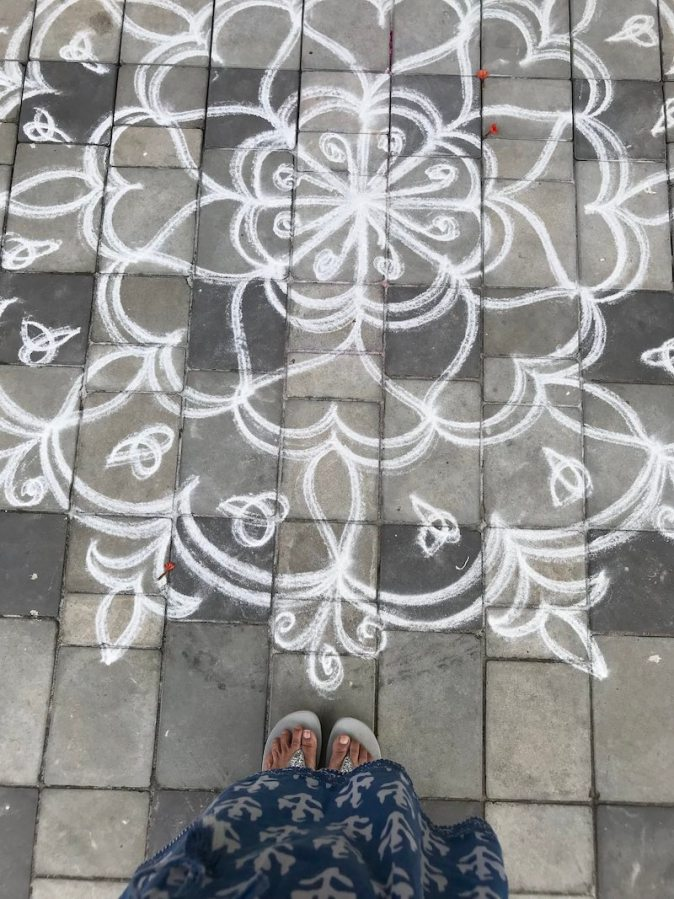 Traditional Pulli Kolam design for Pongal