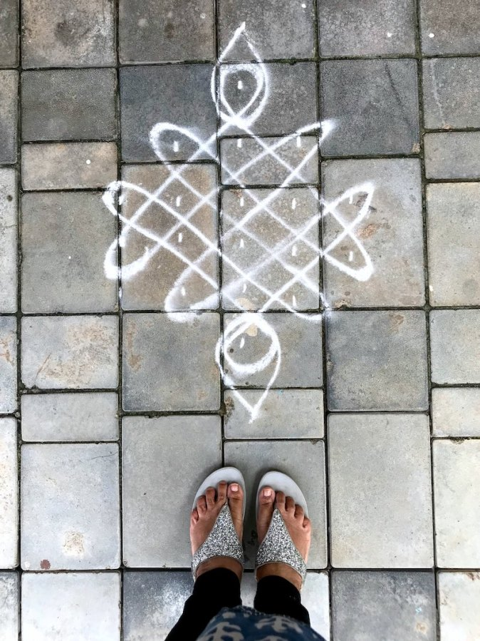 Traditional Kolam design for Pongal