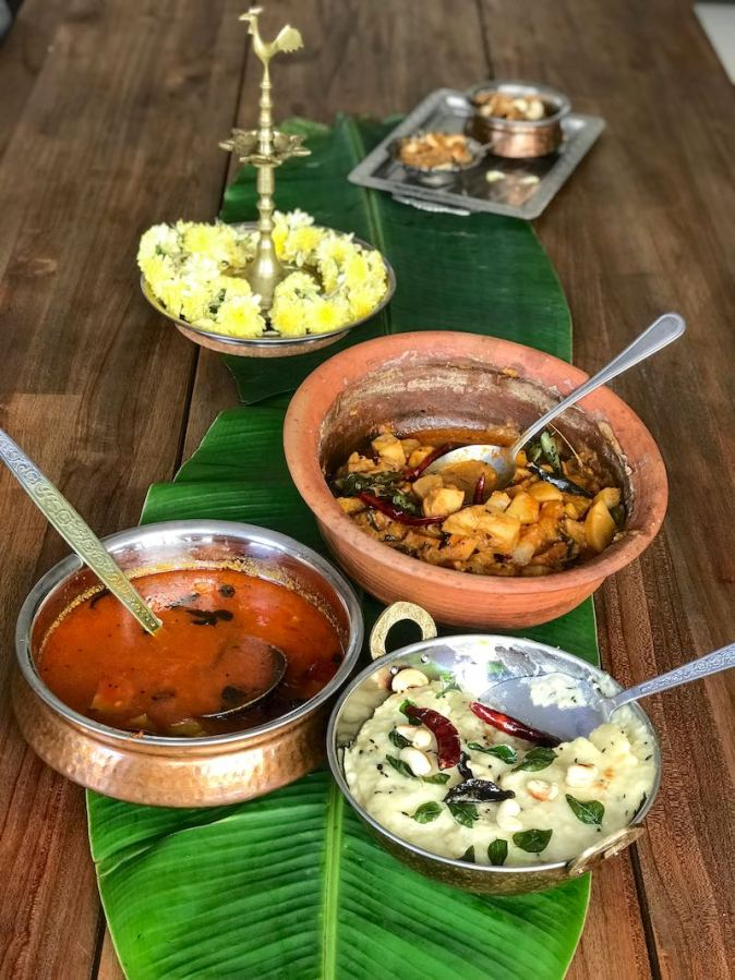 Traditional Sappadu,or a typical Tamil meal of Ven Pongal, Sambar and Aviyal