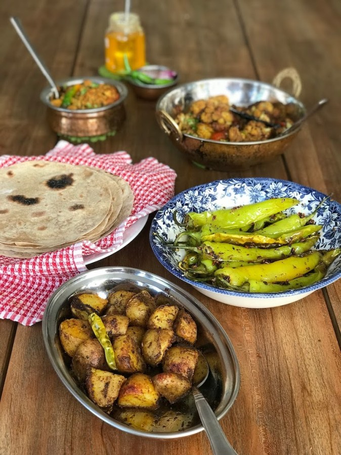 An Indian vegetarian meal at home