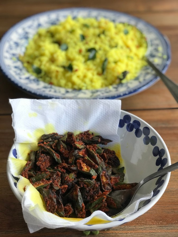 Lemon rice with crispy fried spicy okra