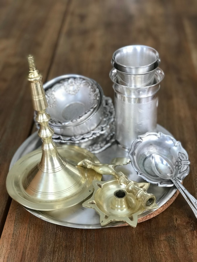 Silver ware for serving prasad