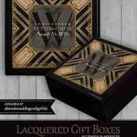 Squaza Art Deco Black Gold | Wooden Gift Box