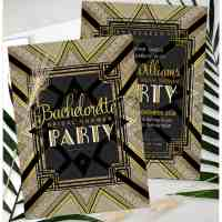 Gold & Black Art Deco Bachelorette | Printed Invitations
