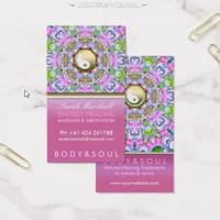 Pink Lavender Sparkle Energy Healing Business Card