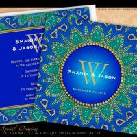 Egyptian Sun Teal Gold Monogram | Invitation