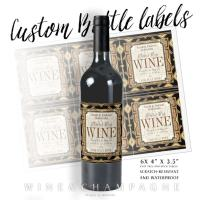 Stylish Earthy Gold Black Glamour Wine Labels