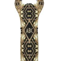 Black Gold ArtDeco Monogram Wedding Wine Cooler Bag