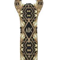 Black Gold ArtDeco Monogram Wedding Wine Cooler Bag