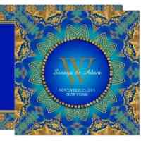 Eastern Blue Gold Satin Lace Invitation