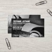 Grunge Black White Acoustic Guitar Business Cards