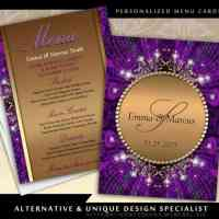 Magical Sparkle Gold Purple Wedding Menu Card