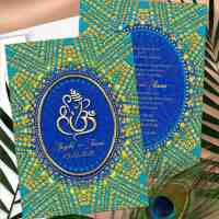 Eastern Turquoise Gold Ganesh Indian Wedding Invitation