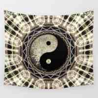 Yin Yang Geometry Mandala Wall Tapestry