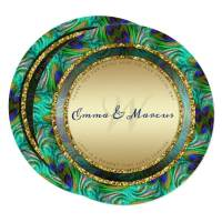 Peacock Feathers Gold Round Wedding Menu Cards