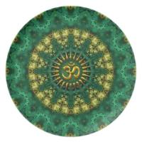 Golden Om & Nature Green Mandala Art Gift Plate | Porcelain