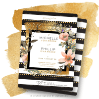 Floral Stripes Modern Chic Wedding Invitation