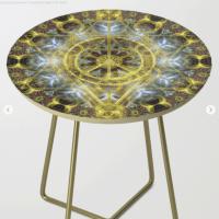 Sacred Geometry Fractal Mandala Side Table