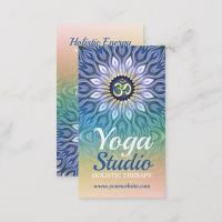 Peach Blue Purple Geometric Mandala Business Card