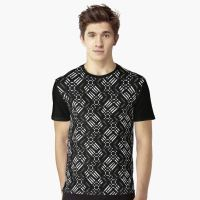 Black White & Bronze Pattern Graphic Shirts