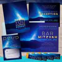 Space Bar Mitzvah Night Sky Invitation Suite