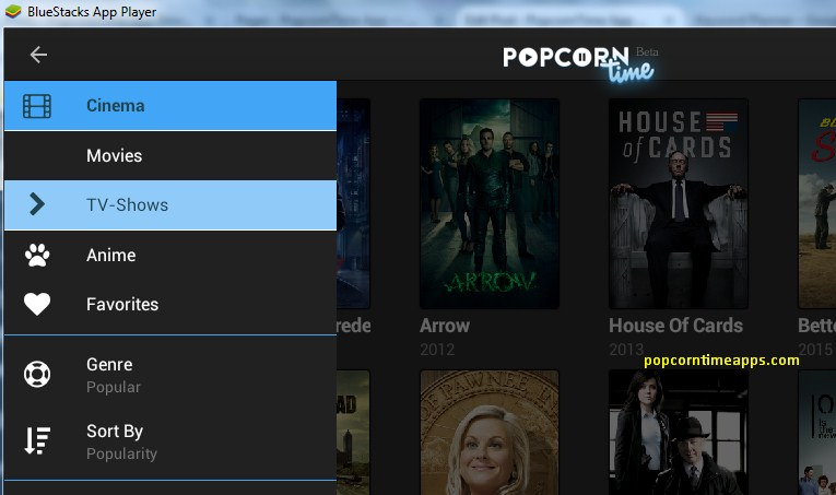 popcorn time pc shows