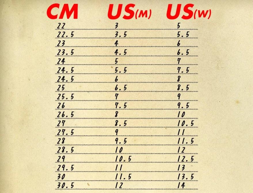 【完全版】CT70サイズ表 (男女兼用)