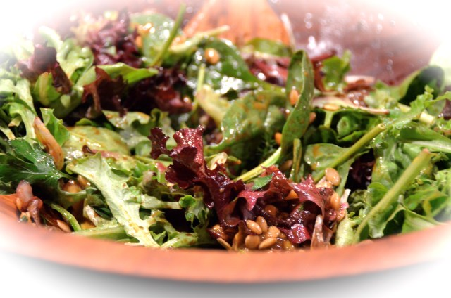 Crunchy Mixed Green Salad With Raspberry Vinaigrette