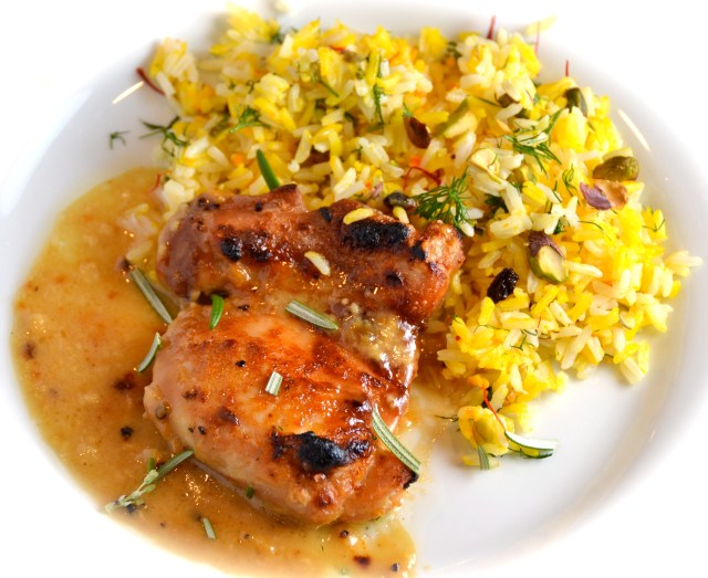 Maple-Dijon Glazed 'Man-Pleasing' Chicken With Saffron, Pistachio and Mixed Herb Rice