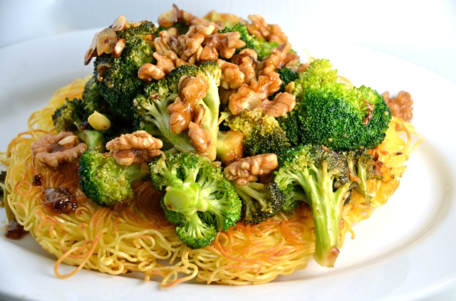 Crispy Noodle Pancake With Stir-Fried Broccoli and Tamari Walnuts