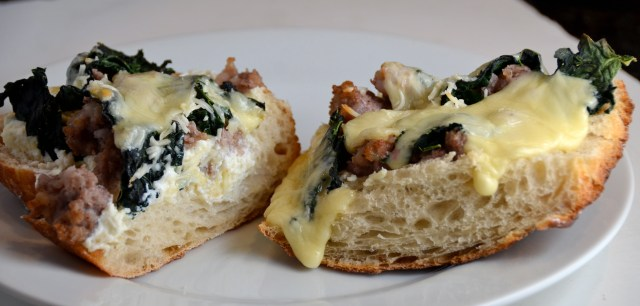 Three-Cheese Bread Pizza With Kale And Sausage