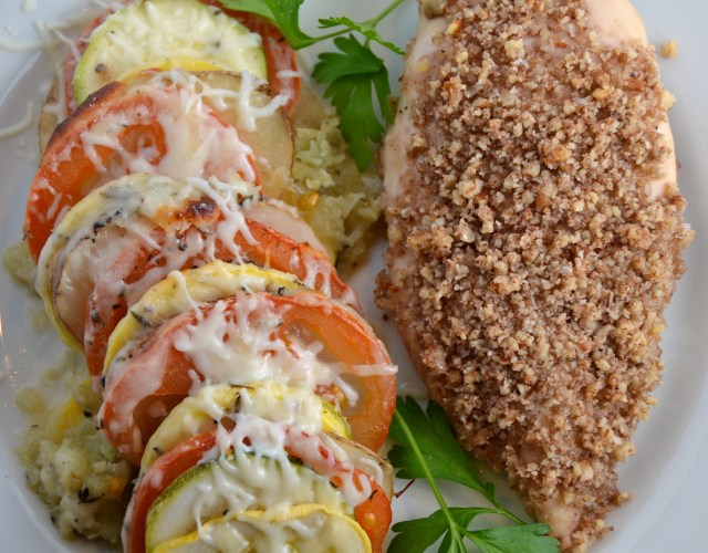 Maple Pecan Chicken With Cheesy Vegetable Tian
