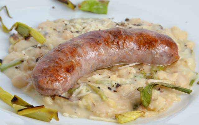 Sausages With Griddled Spring Onion And Butter Bean Mash