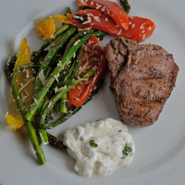 Grilled Lamb Chops With Mint Cream Sauce. Grilled Asparagus And Peppers.