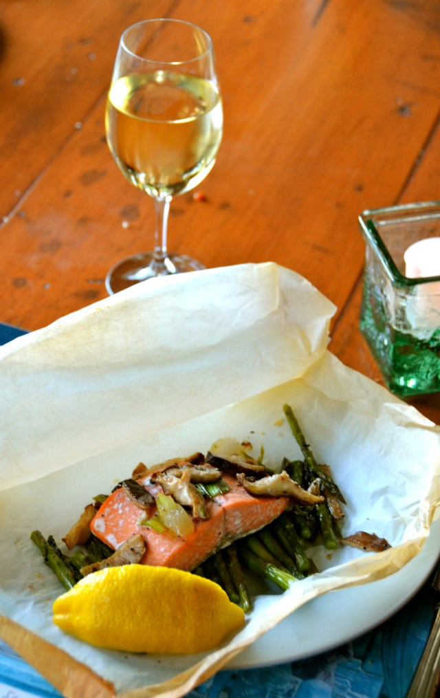 Salmon, Asparagus, And Shiitakes In Parchment
