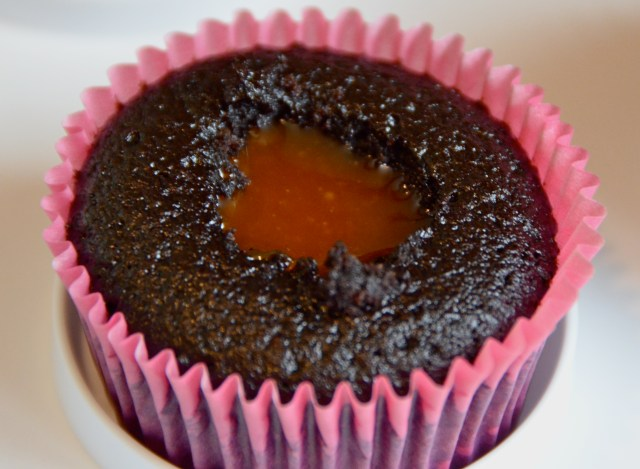 Filling Chocolate Salted Caramel Cupcakes
