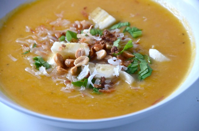 Roasted Butternut Squash Soup With Curry Condiments