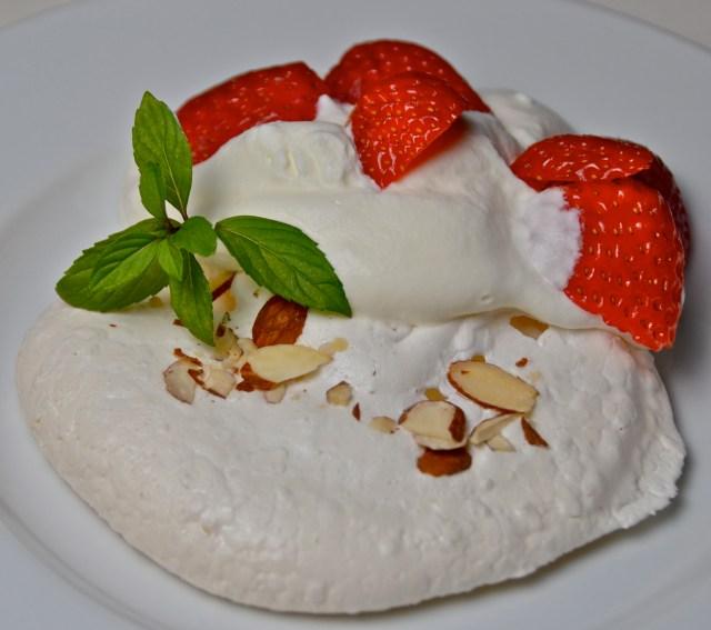 Strawberry Almond Meringue Blobs