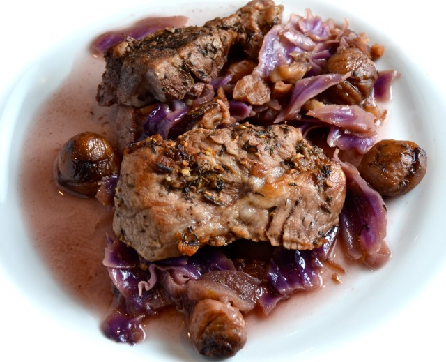 Slow Oven Cooked Pork, Chestnuts And Red Cabbage