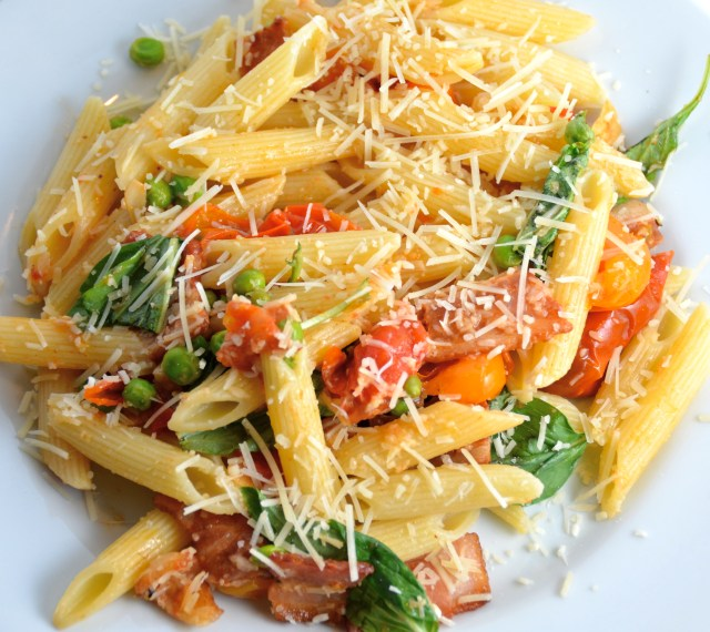 Penne With Grape Tomatoes, Bacon And Peas