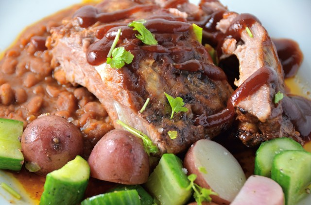 Easy Slow Cooker BBQ Ribs With Parsley Potatoes With Cucumbers