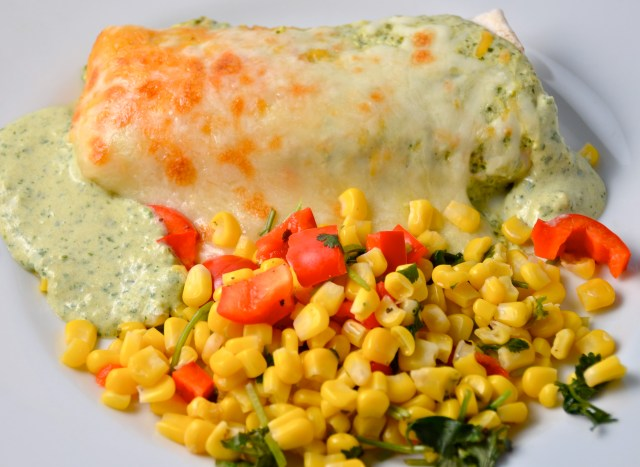 Smothered Green Chile And Cilantro Burritos