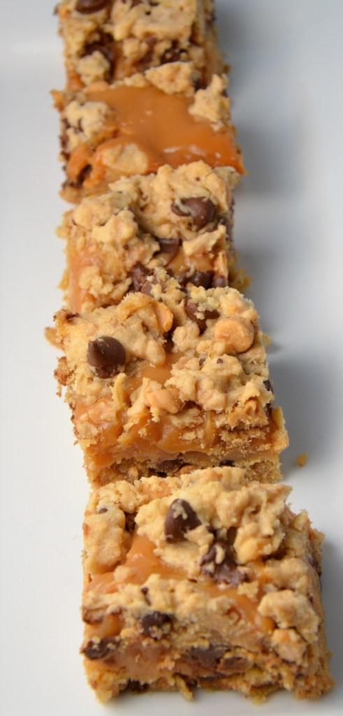 Peanut Butter Caramel Toffee Chocolate Chip Cookie Bars