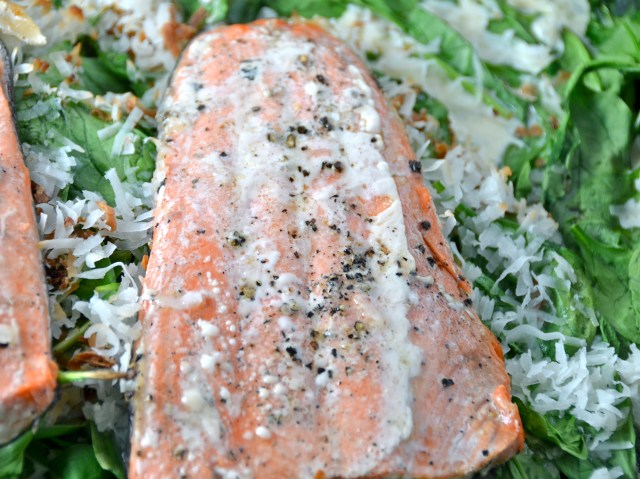 Oven Roasted Salmon With Spinach & Coconut Recipe