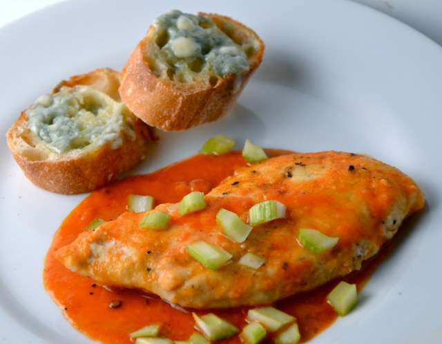 Sautéed Buffalo Chicken Breasts With Blue Cheese Toasts