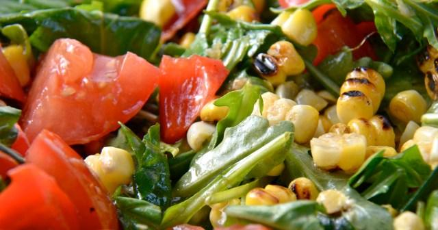 Grilled Corn, Tomato And Arugula Salad